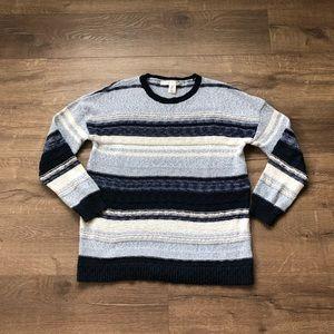 Max Studio Blue Stripe Crewneck Knit Sweater M